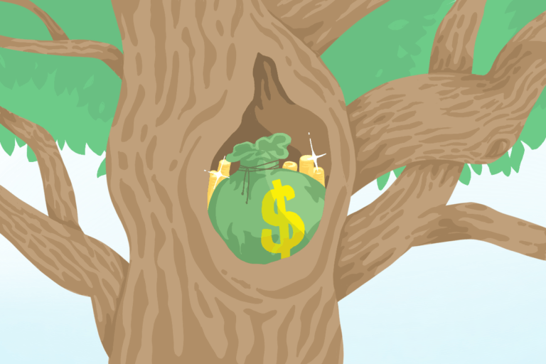 Money stashed in nook of a tree, representing the riches in the niches to be found using niche job boards